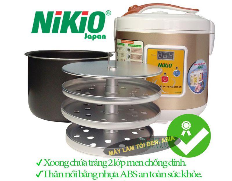 Hình khay và xoong máy làm tỏi đen Nikio NK-696