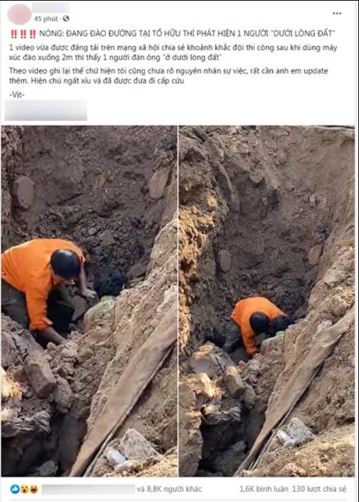 """3 6 - Sự thật đoạn clip đang đào đường ở Hà Nội thì phát hiện """"một người dưới lòng đất"""""""