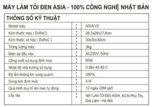 Thông số máy ASIA V2
